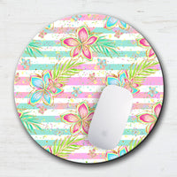 Tropical Pastel Floral Striped Mouse Pad & Coaster