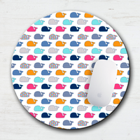Colorful Whales Mouse Pad & Coaster
