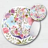 Watercolor Anchor Floral Mouse Pad & Coaster