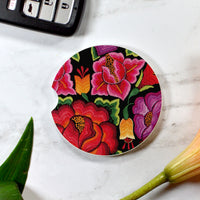 Colorful Floral Sandstone Car Coaster