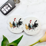Watercolor Chicken & Rooster Sandstone Car Coaster