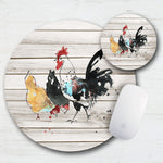 Watercolor Chickens & Rooster Mouse Pad & Coaster