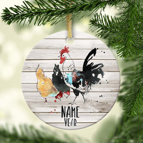 Watercolor Chickens & Rooster Personalized Ornament