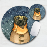 Wintertime Pug Mouse Pad & Coaster
