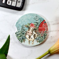 Christmas Cow Sandstone Cup Holder Coaster