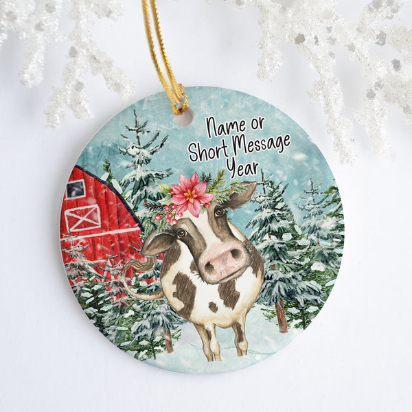 Christmas Cow Personalized Ornament