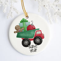 Christmas Dump Truck Personalized Ornament