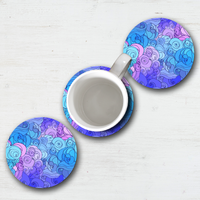 Purple Blue Abstract Wave Mouse Pad & Coaster