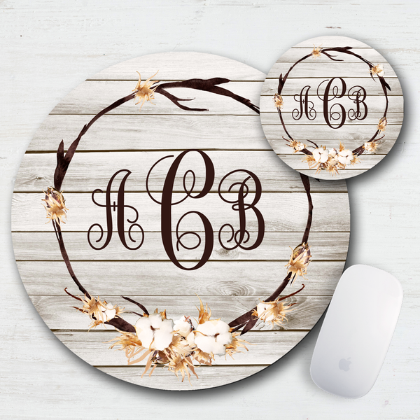 Cotton Sunset Monogrammed Personalized Mouse Pad & Coaster