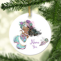 Mermaid With Black Hair Personalized Ornament