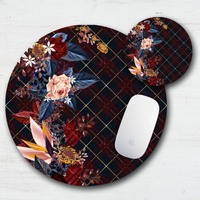 Dramatic Plaid & Floral Mouse Pad & Coaster