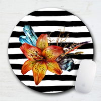Tiger Lily Boho Striped Mouse Pad & Coaster