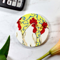White Roosters Sandstone Cup Holder Coaster