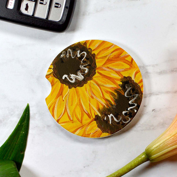 Sunflowers Sandstone Cup Holder Coaster