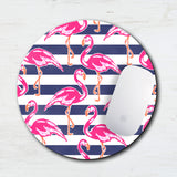 Pink Flamingo Stripe Mouse Pad & Coaster