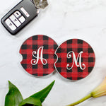 Buffalo Plaid Monogrammed Sandstone Car Coaster