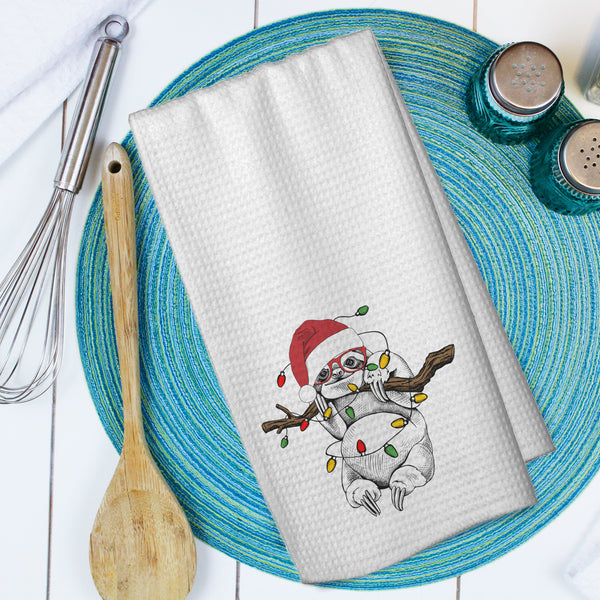 Holiday Sloth Microfiber Waffle Weave Towel