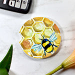 Bee Honeycomb Sandstone Cup Holder Coaster