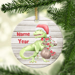 Holiday Santa T-Rex Dinosaur Personalized Ornament