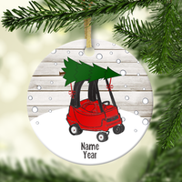 Red Holiday Toddler Car Personalized Ornament