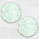 Geometric Mint & Gold Sandstone Car Coaster