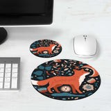 Nordic Fox Moon Floral Mouse Pad & Coaster