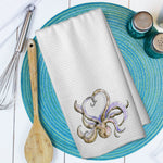 Gold Octopus Love Watercolor Microfiber Waffle Weave Towel