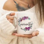 Personalized Purple Floral Name Ceramic Mug