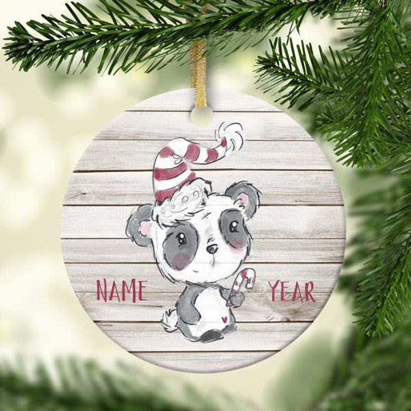 Santa Panda Personalized Ornament