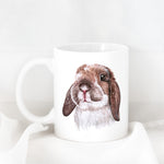 Brown & White Rabbit Ceramic Mug