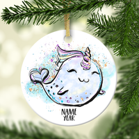 Magical Narwhal Personalized Ornament