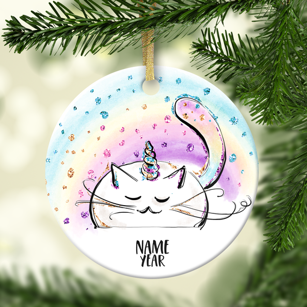 Caticorn Rainbow Personalized Ornament