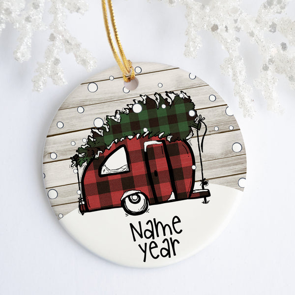 Buffalo Plaid Christmas Camper Personalized Ornament