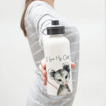 "Opossum ""I Love My Cat"" Aluminum Water Bottle"