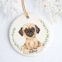 Fawn Pug Personalized Ornament