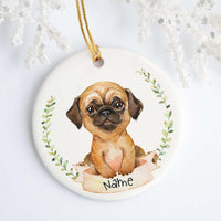 Apricot Pug Personalized Ornament