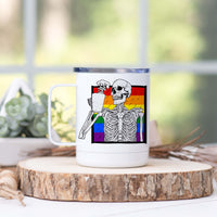 Rainbow Skeleton Drinking Coffee Stainless Steel Camp Mug
