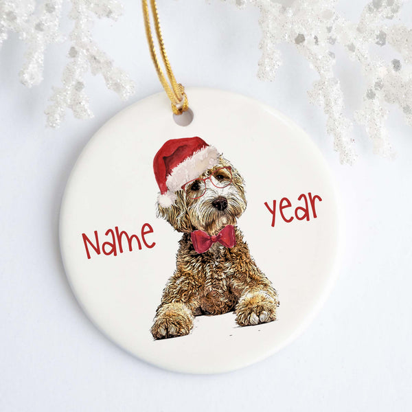 Golden Doodle Santa Personalized Ornament