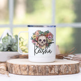 Personalized Floral Heart Skull Stainless Steel Camp Mug