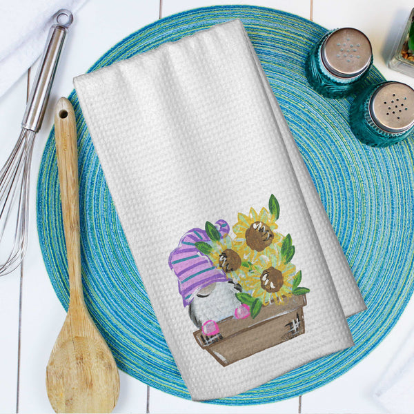 Spring Garden Gnome Microfiber Waffle Weave Towel