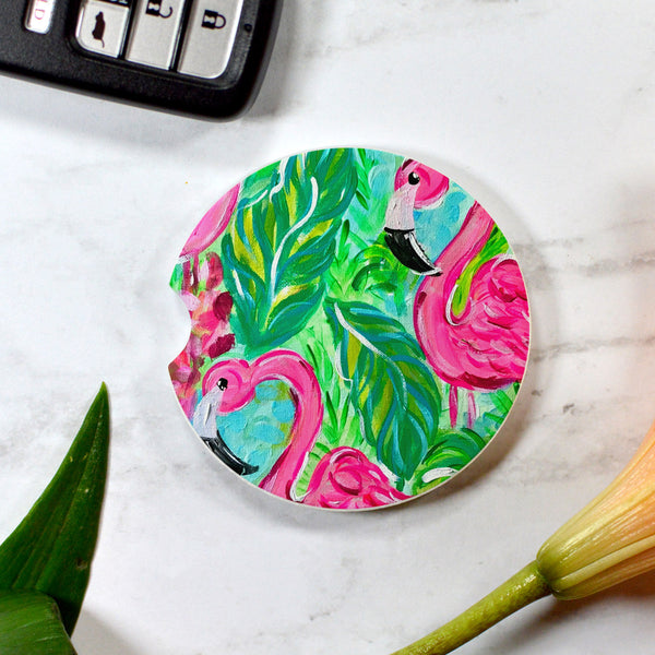 Tropical Pink Flamingod Sandstone Car Coaster