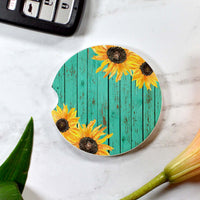 Sunflowers Boho Wood Sandstone Car Coaster