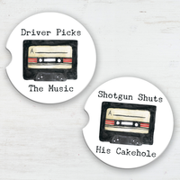 Driver Picks Music/Shotgun Shuts Cakehole Sandstone Car Coaster