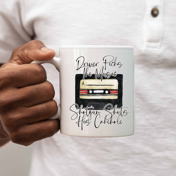 "Personalized ""Driver Picks The Music Shotgun Shuts His Cakehole"" Supernatural Ceramic Mug"