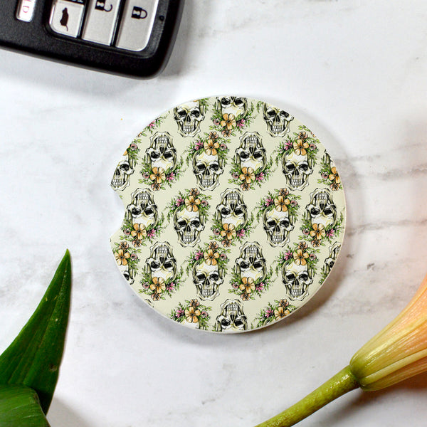 Tropical Floral Skull Sandstone Cup Holder Coaster