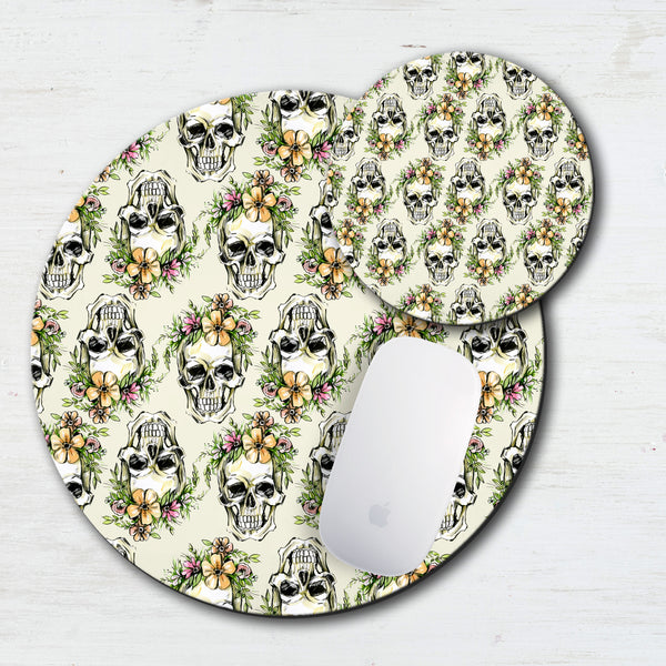 Tropical Floral Skull Mouse Pad & Coaster