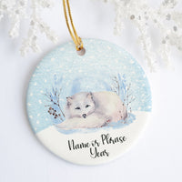 White Arctic Fox Personalized Ornament