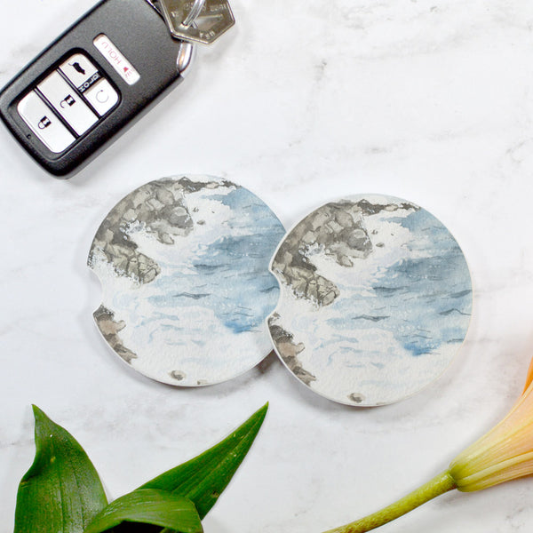 Watercolor Ocean Beach Sandstone Car Coaster