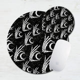 Witchy Moon Skeleton Hands Mouse Pad & Coaster
