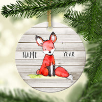 Rustic Fox Personalized Ornament